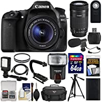 Canon EOS 80D Wi-Fi Digital SLR Camera & 18-55mm IS STM + 55-250mm IS STM Lens + 64GB + Battery + Case + Tripod + Flash + LED + Mic + Stabilizer Kit