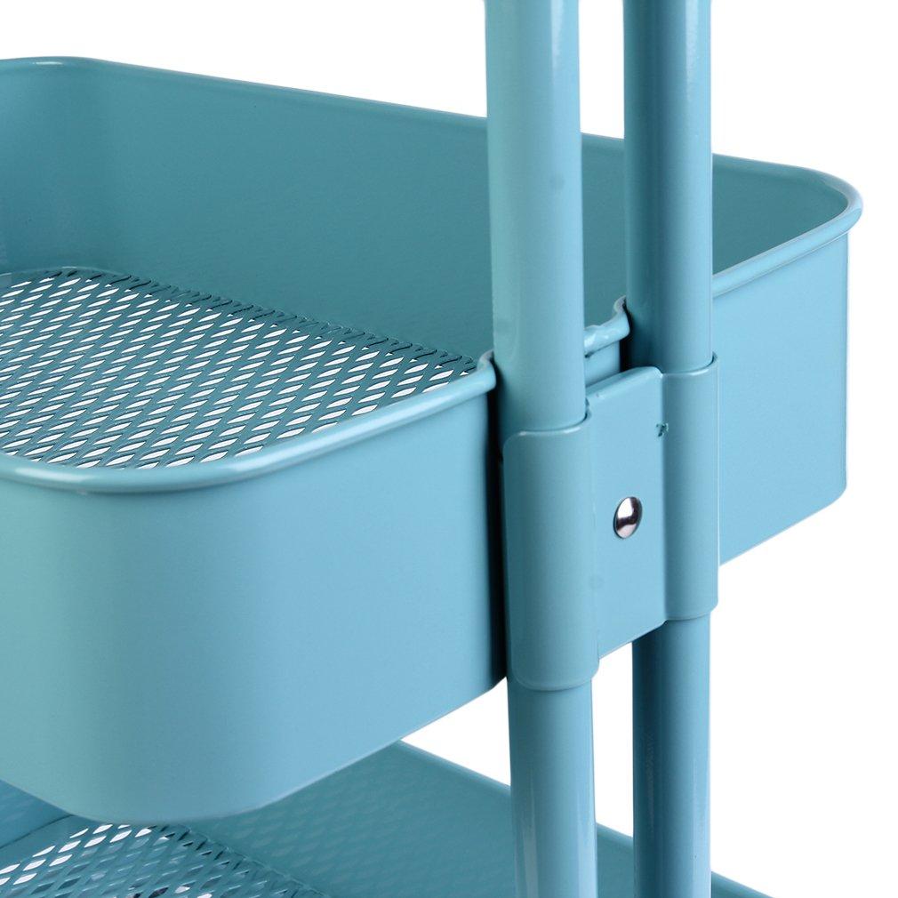 Homgrace Carrito con Ruedas, Carrito Auxiliar con 3 Nivel en metálica Multiusos para Cocina, baño, frutería, Lavabo (Azul)