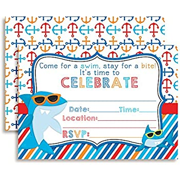 Amazon shark in sunglasses birthday party invitations ten 5x7 shark in sunglasses birthday party invitations ten 5x7 fill in cards with filmwisefo