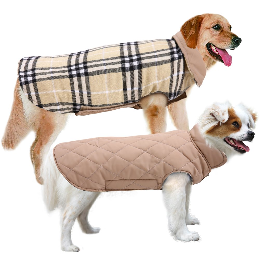 Beige XXL(Back 18.5 inch; Chest 26.8-31.5 inch) Beige XXL(Back 18.5 inch; Chest 26.8-31.5 inch) MIGOHI Dog Jackets for Winter Windproof Waterproof Reversible Dog Coat for Cold Weather British Style Plaid Warm Dog Vest for Small Medium Large Dogs Beige XXL