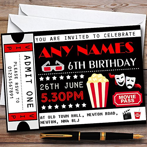 10 x Movie Film Cinema Ticket Personalized Childrens Birthday Party Invitations ()