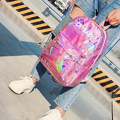 Cry 4 Donna ROSA Baby wlgreatsp zaino laser Ologramma Vin holografica Donne dello beauty Scuola Cuoio Tote bookbag YCxTwWpaAq