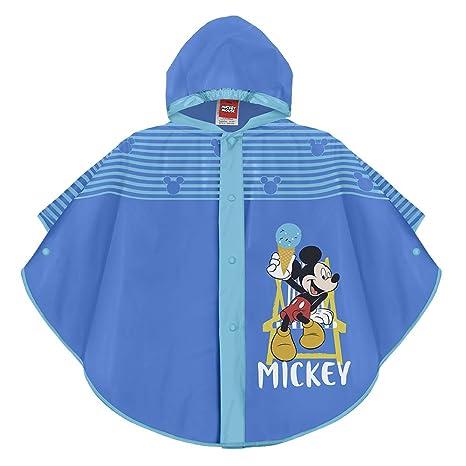 Perletti Disney Micky Maus Regen Poncho für Kinder - Mickey Mouse Wasserdicht Regenmantel Jungen - Regencape mit Kapuze und K