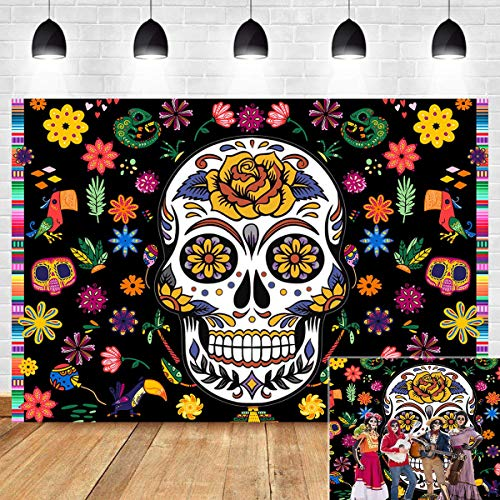 Day of The Dead Themed Photography Backdrop Birthday Party Decoration Mexican Fiesta Dia DE Los Muertos Baby Shower Vinyl Sugar Skull Dalia Dress-up Photo Booth Studio Props Background Supplies 5x3ft
