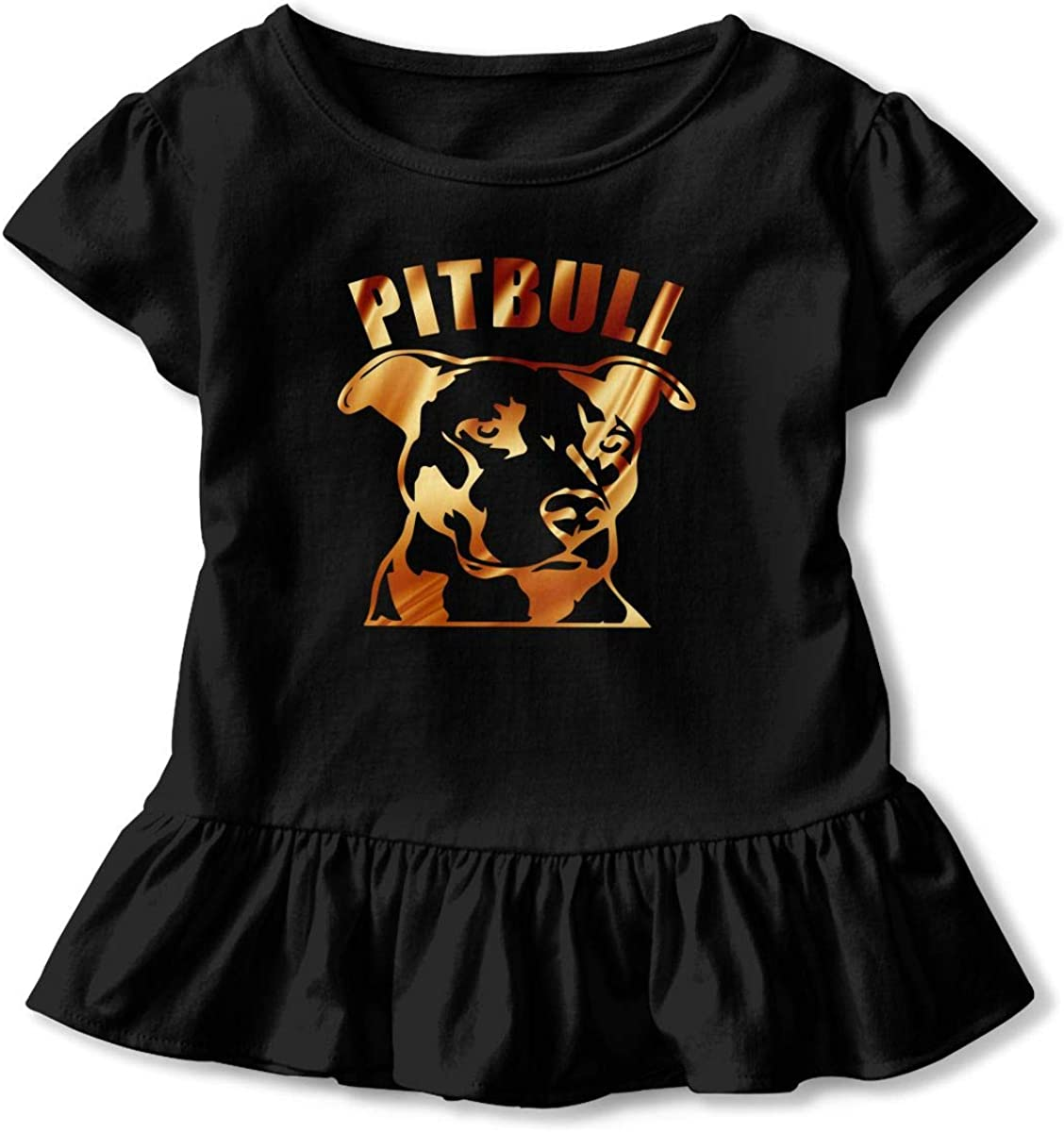 Cheng Jian Bo Pit Bull Crumble Toddler Girls T Shirt Kids Cotton Short Sleeve Ruffle Tee