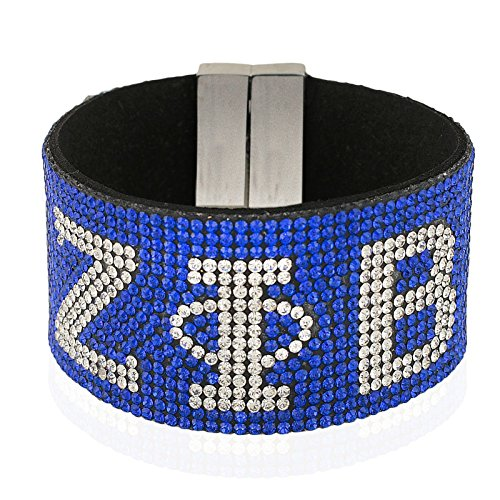 New Zeta Phi beta Austrian Crystal Bracelet With Magnetic Closure - Blue With Silver Stones