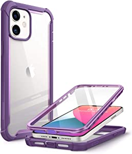 i-Blason Ares Series Designed for iPhone 12 Mini Case (2020), Dual Layer Rugged Clear Bumper Case with Built-in Screen Protector (Purple)
