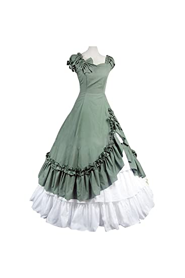9882ccd2288a Amazon.com  Gothic Fringed Dress Victorian Princess Long Retro Gown  Halloween Cosplay Vintage Lolita Dress  Clothing