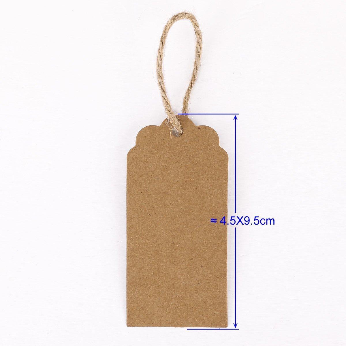 100/x DA WA Kraft /étiquette cadeau /étiquette vierge Mariage papier /étiquettes balises avec 2/metres Ficelle de jute