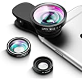 Qtop カメラレンズキット クリップ付きレンズ 3点セット(広角レンズ 魚眼レンズ マクロレンズ)iPhone 6S/6+/6/Samsung/Androidスマートフォンなど対応