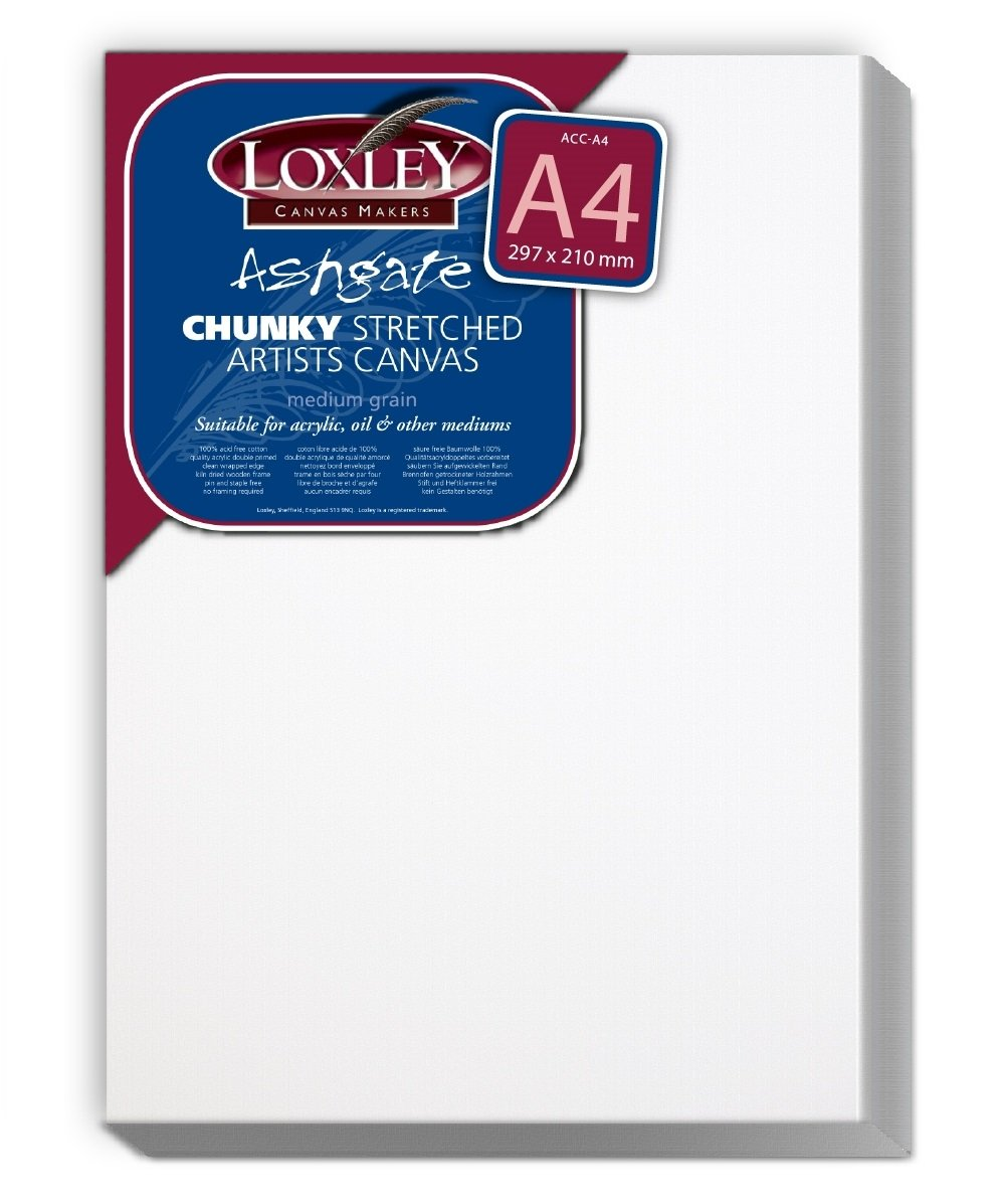Loxley A4 size Deep 36 mm Edge Ashgate Chunky Stretched Artists Canvas, White Colourfull Arts ACC-A4