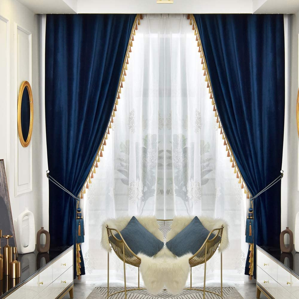 Amazon Com Queen S House Luxury Navy Blue Window Curtains Tassel Velvet Blackout Drapes Panels For Living Room Bedroom 52 84 Inches 2 Panels Furniture Decor