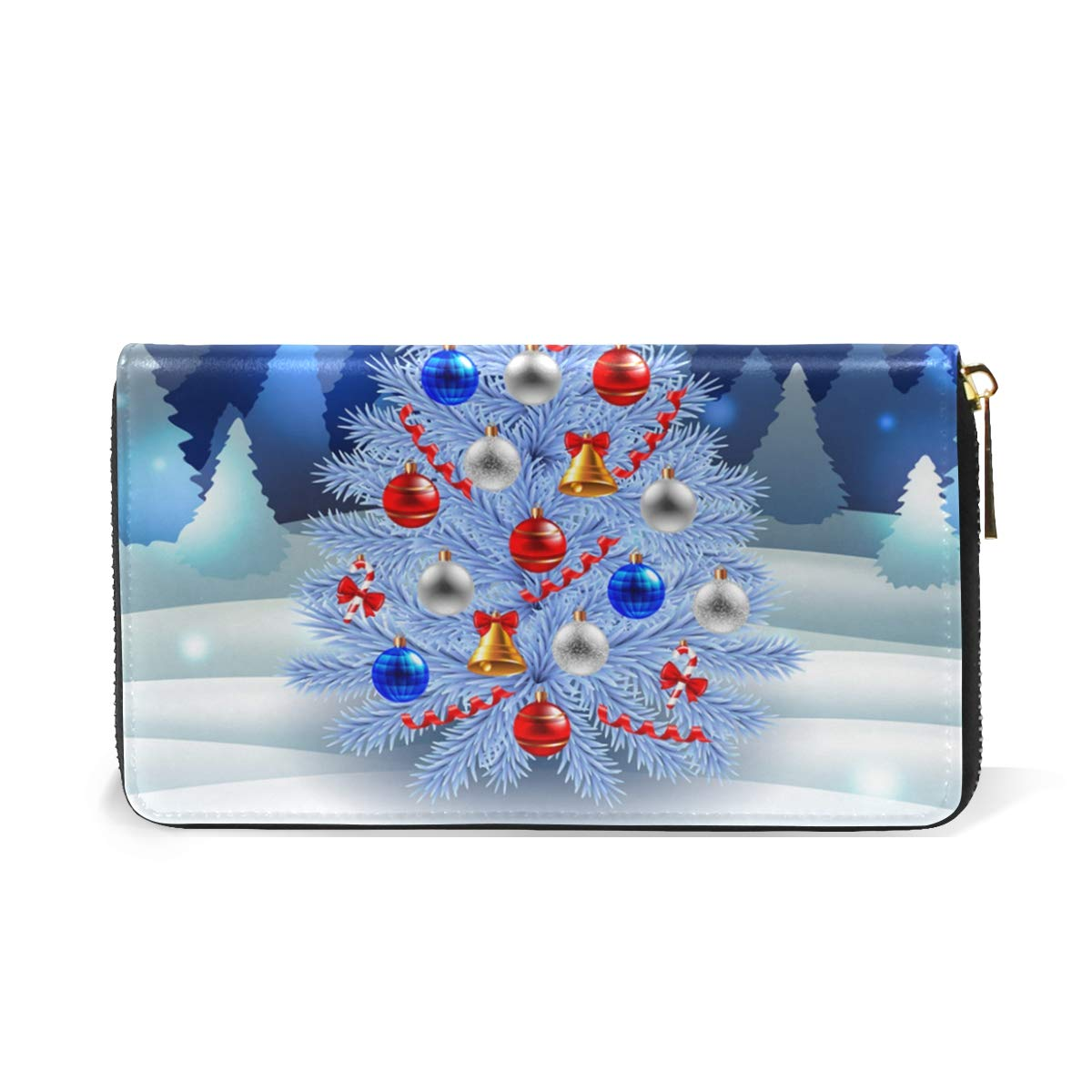 Bells Christmas Tree Ornaments Real Leather Zip Around Wallet Wristlet minimalist wallet Travel Purse Wristlet