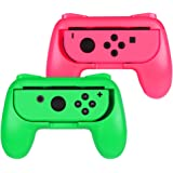 Fintie ジョイコンハンドル 任天堂 Joy-Conハンドル Nintendo Switch Joy-Con グリップ 【2個セット】装着簡単 耐磨 反応素早い ゲームコントローラ (ピンク/グリーン)