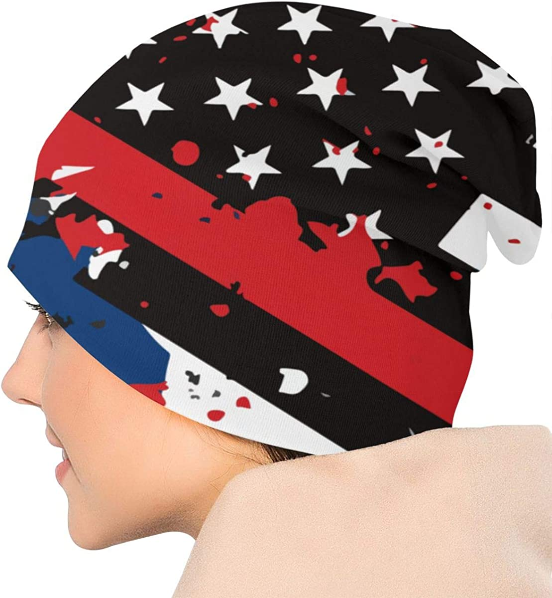 Maine Thin Red Line Flag USA Thin Baggy Slouchy Knit Beanie Hat Hip-hop Skull Cap for Mens and Womens