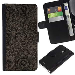 KingStore / Leather Etui en cuir / Samsung Galaxy S4 Mini i9190 / Del papel pintado floral de café Flores