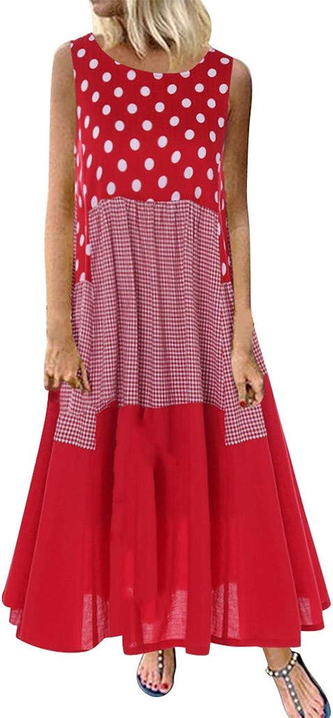Uscharm Womens Spaghetti Strap Casual Sleeveless Boho Flower Print Beach Party Wedding Long Loose Dress