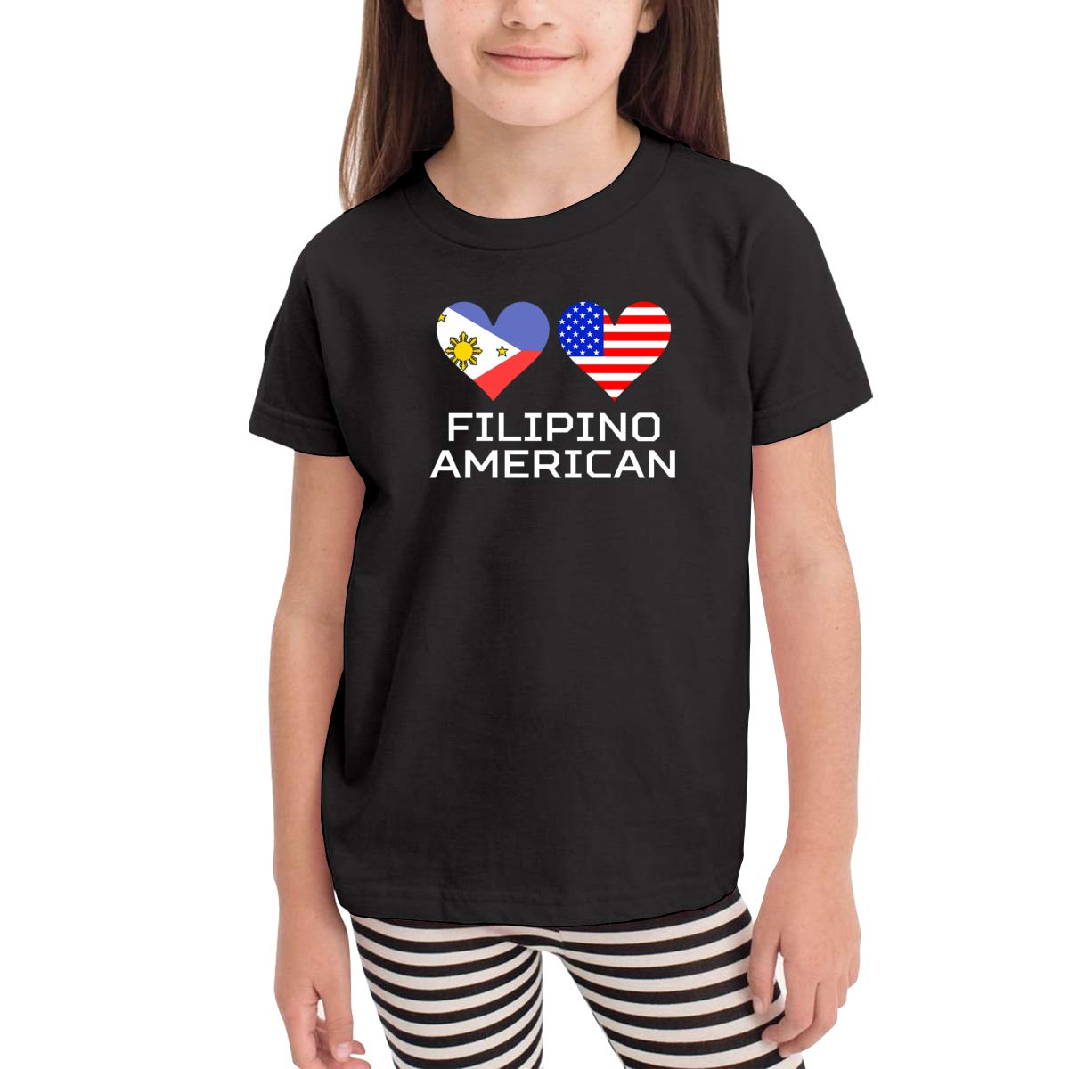 Onlybabycare Filipino American Hearts Black Cotton T Shirt Lightweight Breathable Solid Tee for Toddler Boys Girls Kids