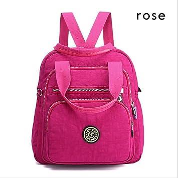 Mango King - Mochila multifuncional de nailon para mujer, diseño coreano, color rosa (