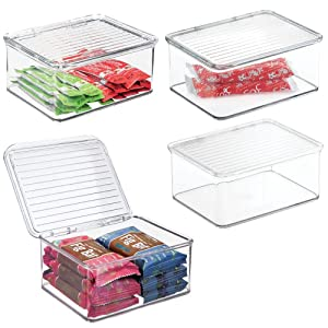 mDesign Plastic Stackable Kitchen Pantry Cabinet/Refrigerator Food Storage Container Bin, Attached Lid - Organizer for Coffee, Tea, Packets, Snack Bars - BPA Free, Food Safe - Small, 4 Pack - Clear