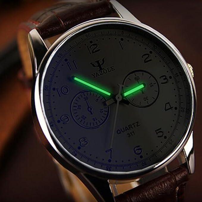 Fashion para hombre Blue Ray Vidrio Relojes de pulsera reloj analógico de cuarzo blanco y marrón: Amazon.es: Relojes