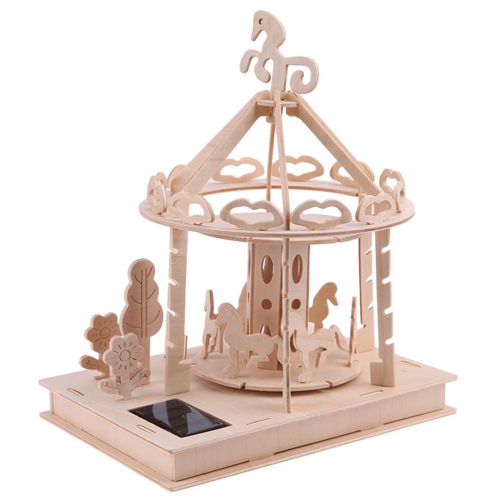 Iainstars DIY Wooden Jigsaw Solar Playground Carousel Puzzle Kid Educational Toy Gift