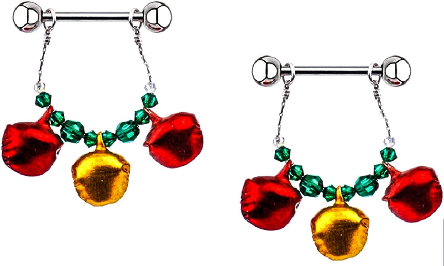 14G Stainless Steel Nipple Jewelry with Double Gem Red.Sold as a Pair