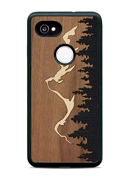 brand new 03eb4 adb77 Carved   Google Pixel 2 XL   Luxury Protective Traveler Case   Unique Real  Wooden Phone Cover   Rubber Bumper   Grand Teton Inlay