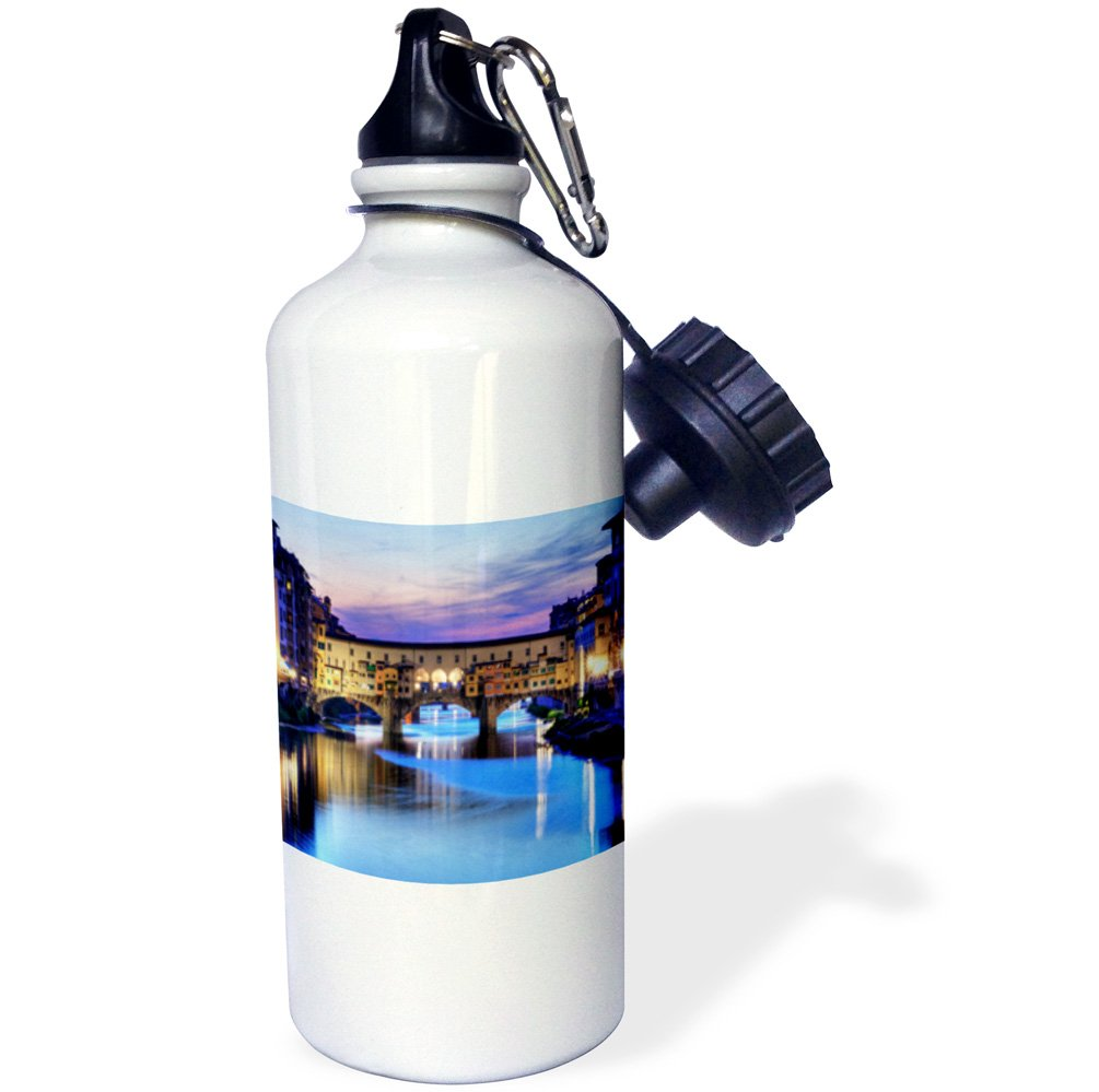 3dRose wb_66290_1''Florence, Italy water and bridge, dusk'' Sports Water Bottle, 21 oz, White