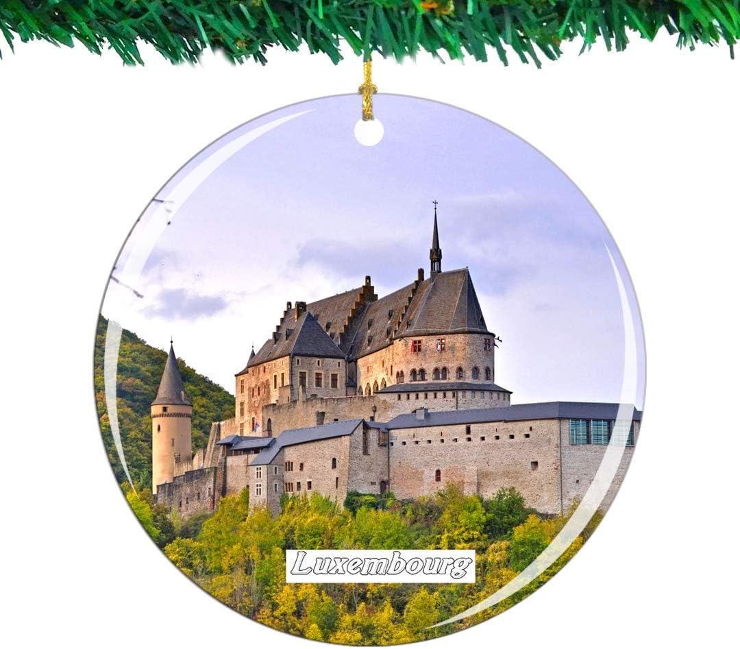 Weekino Schloss Vianden Luxemburg Weihnachtsverzierung Stadt Reise Souvenir Sammlung Doppelseitig Porzellan 2,85 Zoll H/ängende Baumdekoration