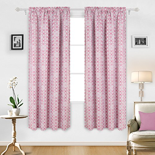 Deconovo Diamond Petals Print Rod Pocket Thermal Insulated Blackout Window Panels Room Darkening Curtains 52x84 Inch Baby Pink and White Two Curtain - Pink Brown Or