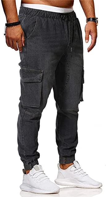 GRMO Men Multi-Pockets Drawstring Loose Fit Sports Cargo Jogger Pants