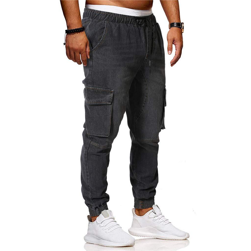 Men Pants Jeans Slim Fit 2019 New Summer Elastic Waist Letter Print Premium with Multi-Pocket (L, Black) by Yihaojia Men Pants (Image #1)