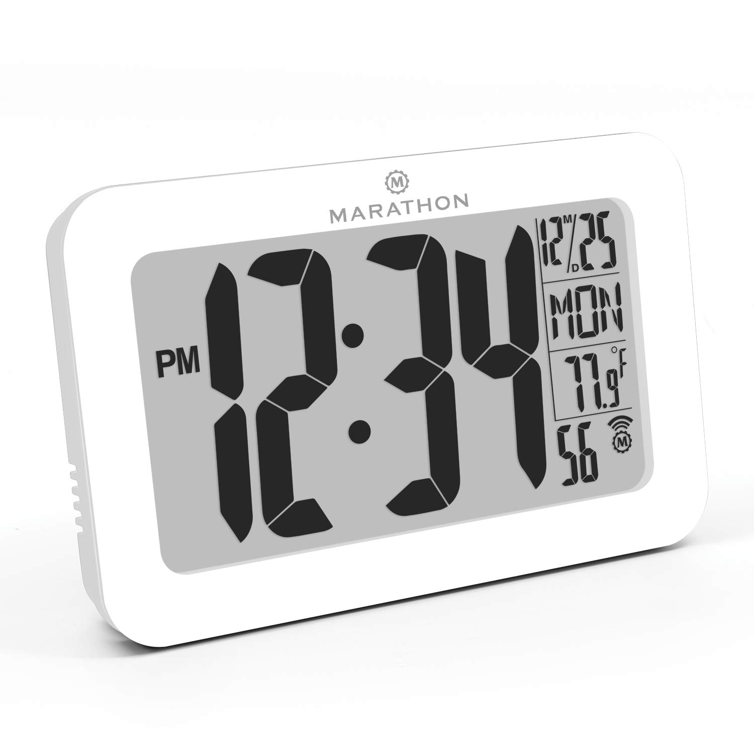 Marathon CL030033WH Panoramic Atomic Self-Setting Self-Adjusting Wall Clock w/Stand & 8 timezones - Acrylic Glass - Batteries Included (White)