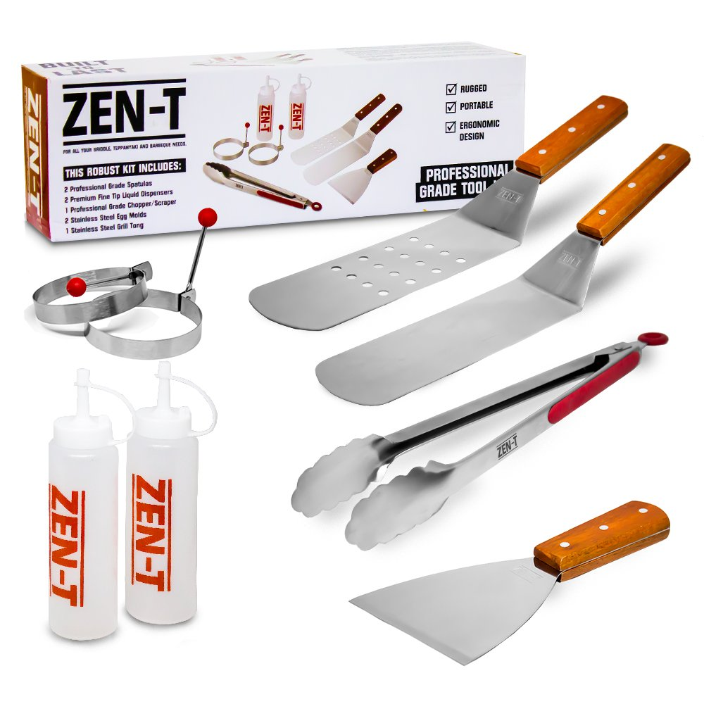Zen-T - 8 Piece Grill Griddle BBQ Tool Kit (Brown)