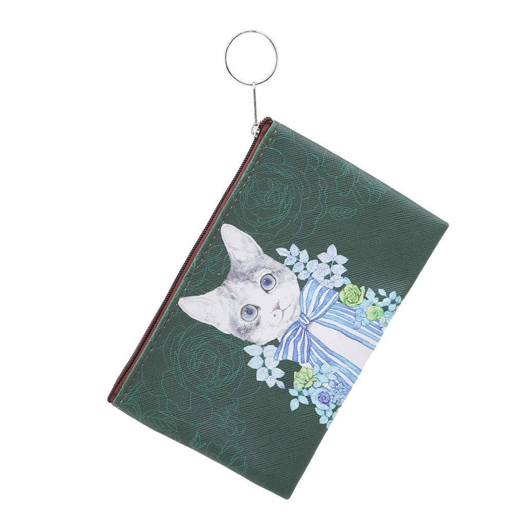LJSLYJ Cartoon Cat Coin Purse Children Kitty Clutch Small Wallet Zipper Bag Pouch Holder,Navy Green