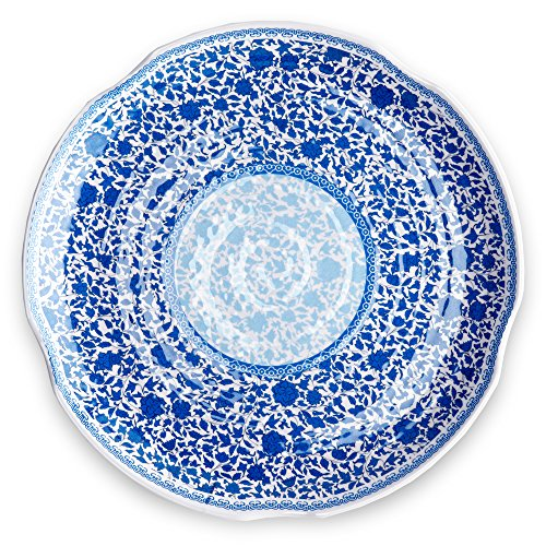 Antique Fish Platter - Q Squared Heritage BPA-Free Melamine Large Serving Platter, 16-Inches, Blue and White