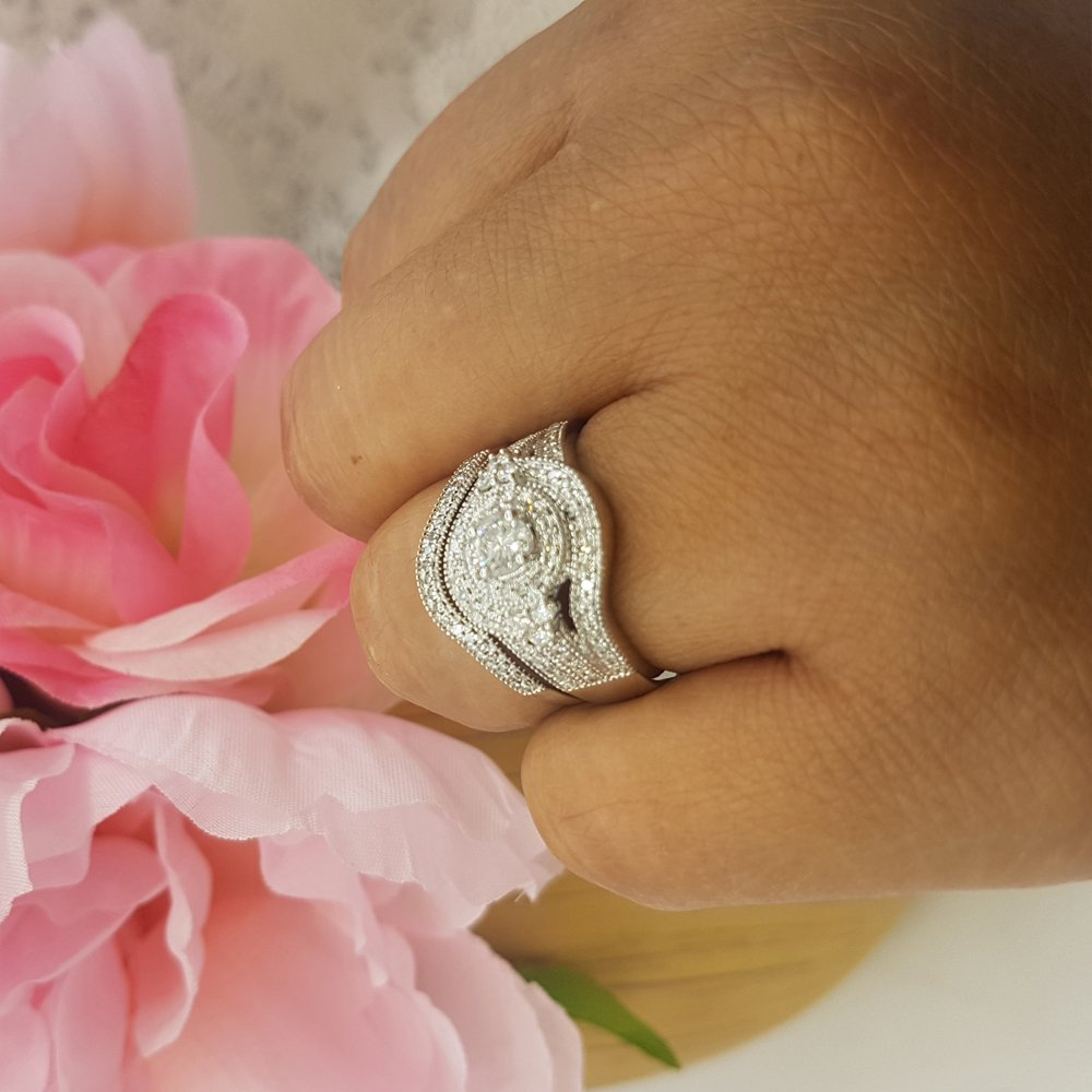 1.00 Carat (ctw) 14k White Gold Round Diamond Ladies Vintage Bridal Engagement Ring Matching Wedding Band Set 1 CT (Size 8) by DazzlingRock Collection (Image #5)