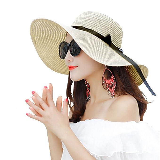 Sombrero Paja Mujer Pamela de Paja Sombreros Mujer Verano Sombrero ala Ancha  Mujer Sombrero de Playa Plegable  Amazon.es  Ropa y accesorios 9e3c79f467c