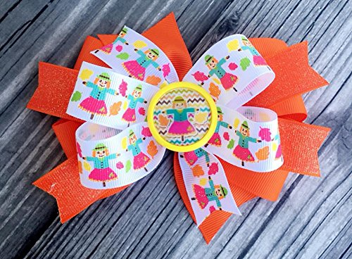 Fall hairbow - scarecrow bow - pumpkin patch hairbow - thanksgiving hairbow - orange girls hairbow - toddler bow - autum bow - leaves bow - scare crow -