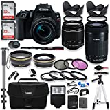 Canon EOS Rebel SL2 DSLR Camera with Canon 18-55mm IS STM Lens & 55-250mm IS STM Lens Kit + Canon Case + 64GB Memory + Filters + Macros + Monopod + 50 Tripod + Professional DSLR Bundle