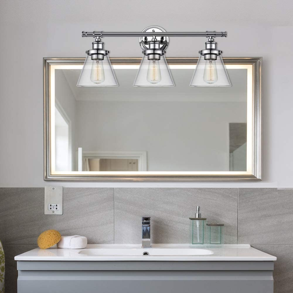 Globe Electric Parker 3 Chrome Vanity Light with Clear Glass Shades 51445: Home Improvement