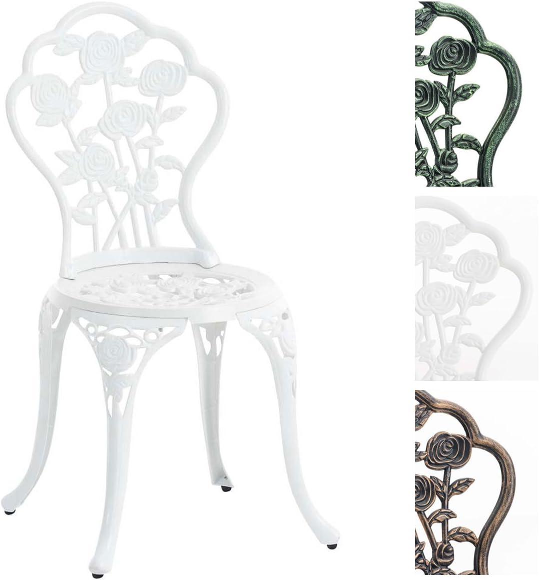 CLP Silla de exterior Sharma. Silla metálica con un diseño floral. soporta un peso máximo de 136 kg. blanco: Amazon.es: Jardín