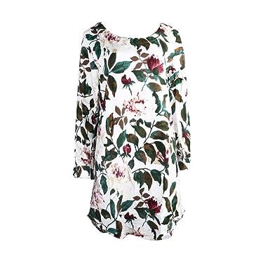 84ee3e4d9f Femme Robe Imprimé Floral,Robe de soirée Estivale à Manches Longues et  Grande Taille Chemisier