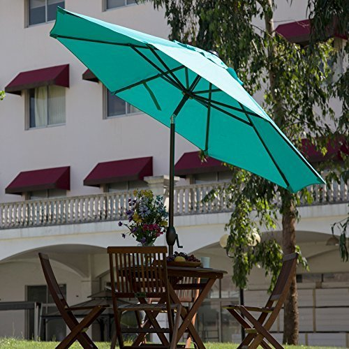Abba Patio 9-Feet Umbrella with Push Button Tilt and Crank (Shown here in turquoise)