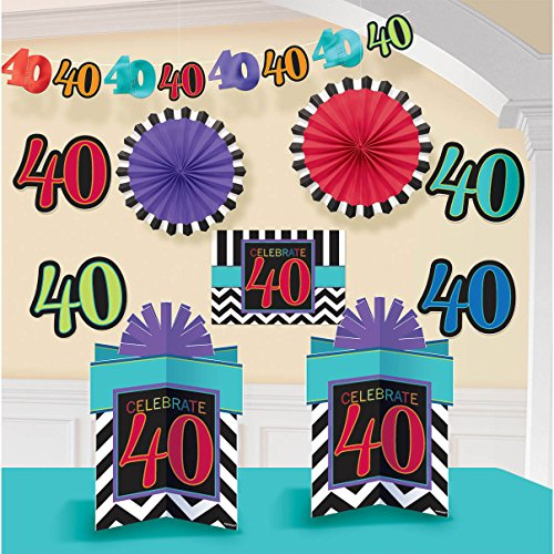 Must-Have Chevron and Stripes 40th Birthday Party Assorted Room Decorating Kit , Pack of 10, Multi , 10.6