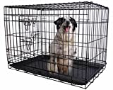 24'' 2 Doors Wire Folding Pet Crate Dog Cat Cage Suitcase Kennel Playpen w Tray
