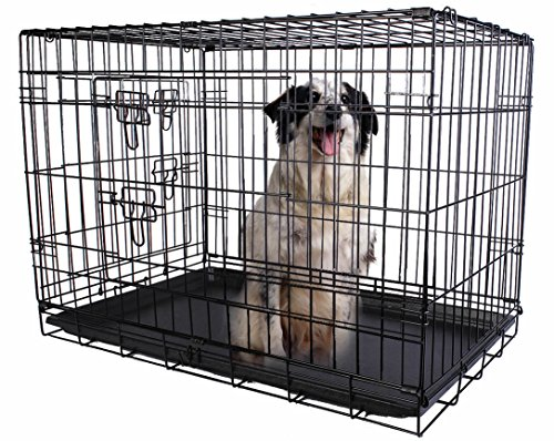 Deluxe Heated Dish Dispenser (24'' 2 Doors Wire Folding Pet Crate Dog Cat Cage Suitcase Kennel Playpen w/ Tray)