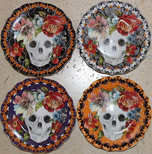 222 Fifth Halloween Marbella Colorful Skull 6-1/2