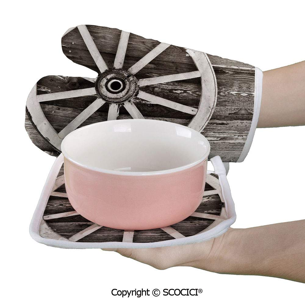 SCOCICI Baking Anti-Hot Glove Retro Wheel on Timber Wall Barn House Village Cart Circle Oven Microwave Mitts Pot with Square Mat